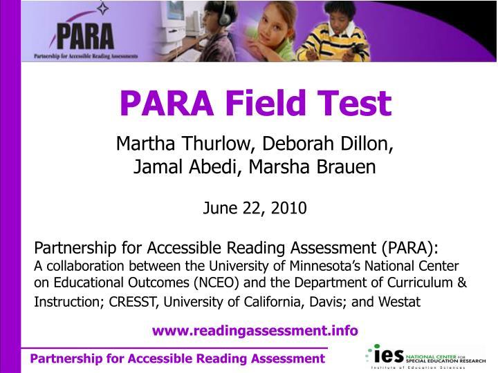 para field test n.