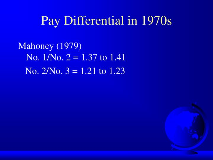 Pay Differential in 1970s