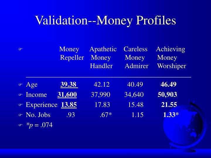 Validation--Money Profiles