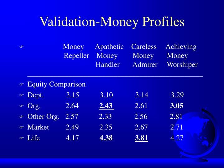 Validation-Money Profiles