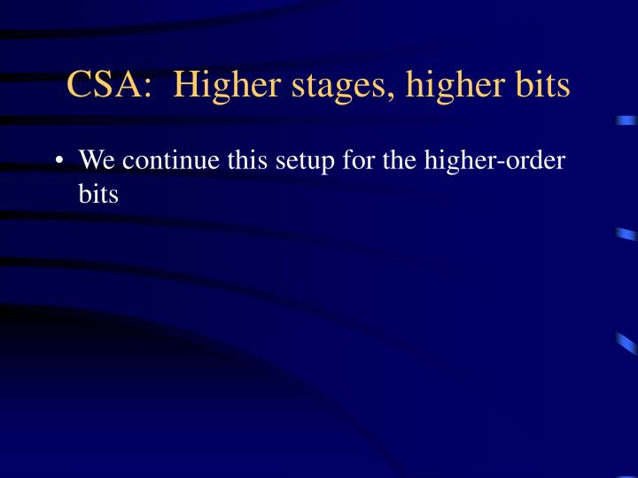 CSA:  Higher stages, higher bits