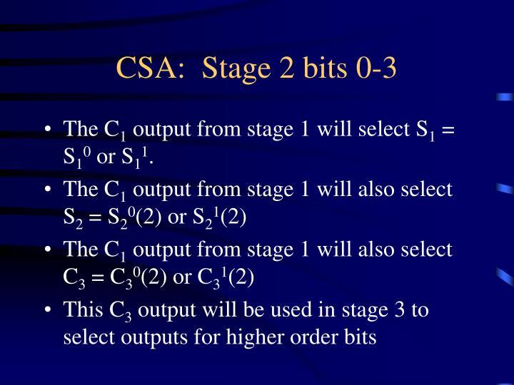 CSA:  Stage 2 bits 0-3