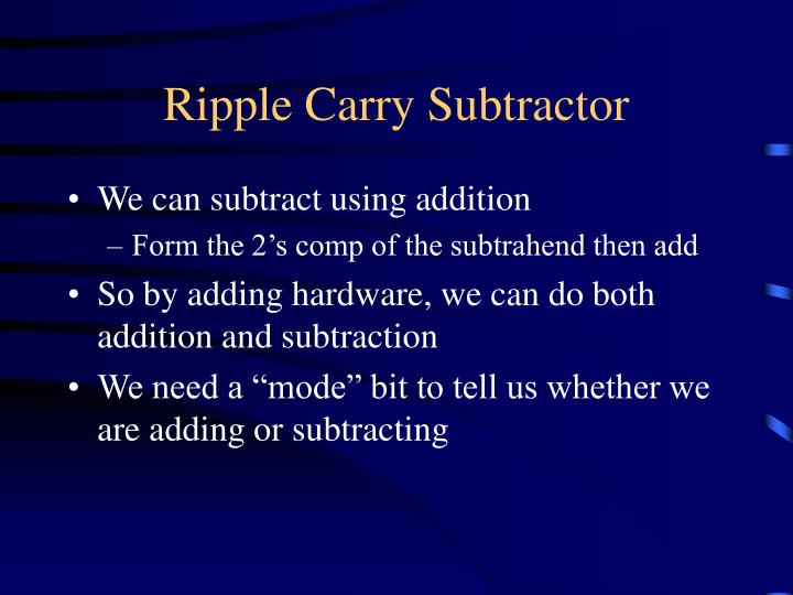 Ripple Carry Subtractor