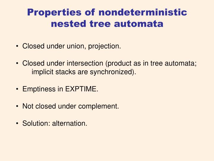 Properties of nondeterministic nested tree automata