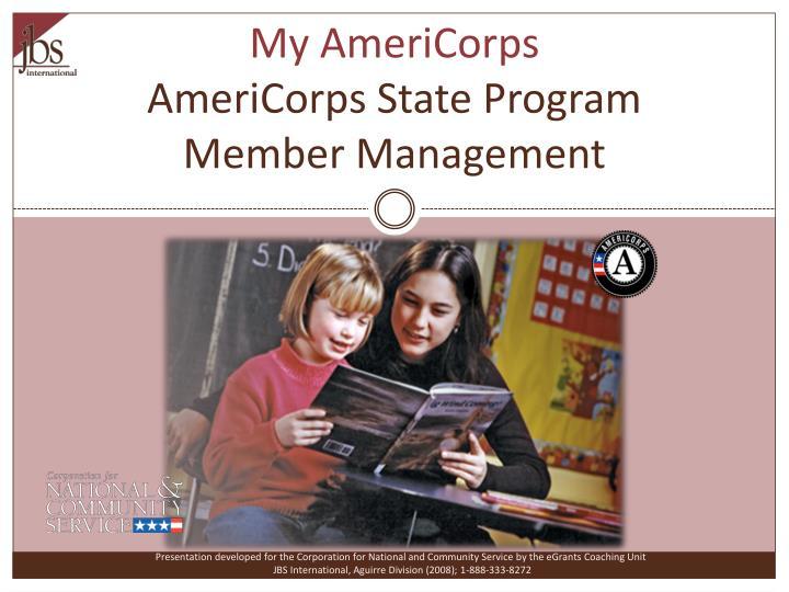 my americorps americorps state program member management n.