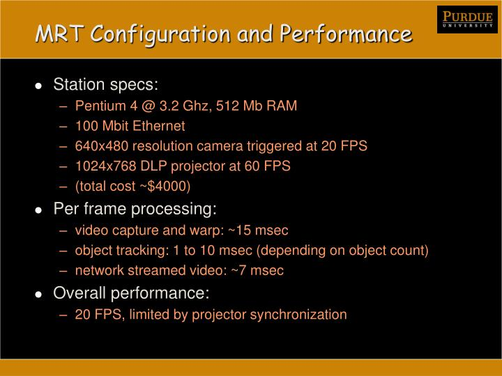 MRT Configuration and Performance