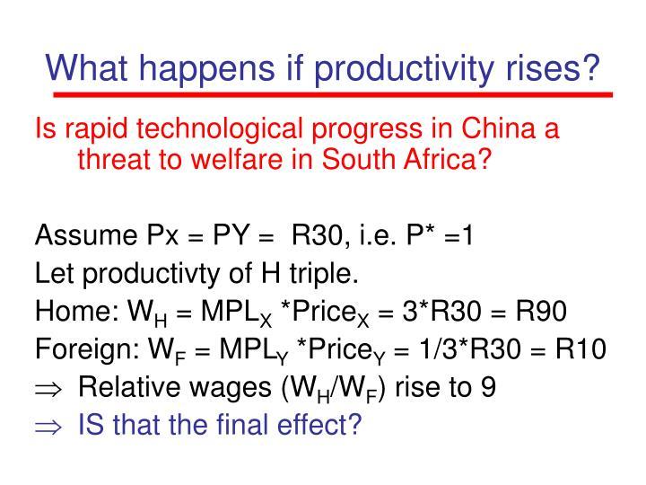 What happens if productivity rises?