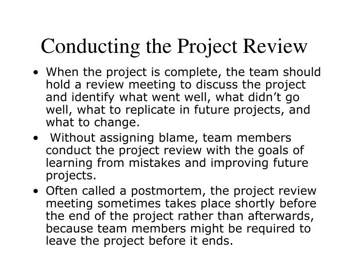 Conducting the Project Review