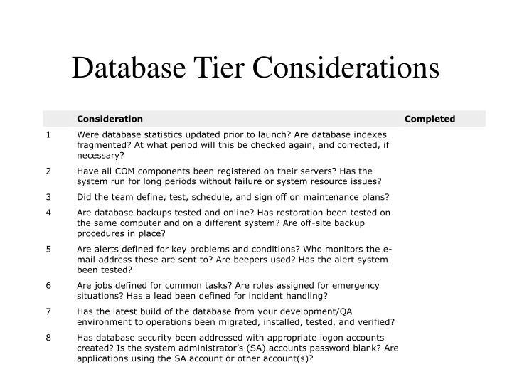 Database Tier Considerations
