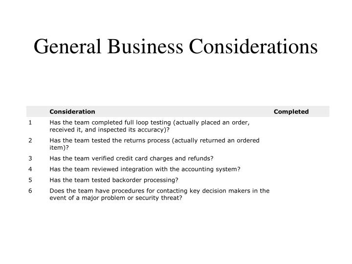 General Business Considerations