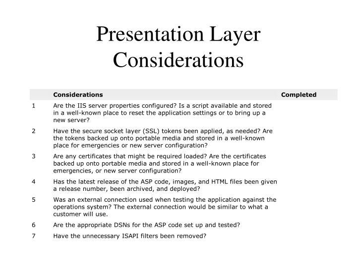 Presentation Layer Considerations