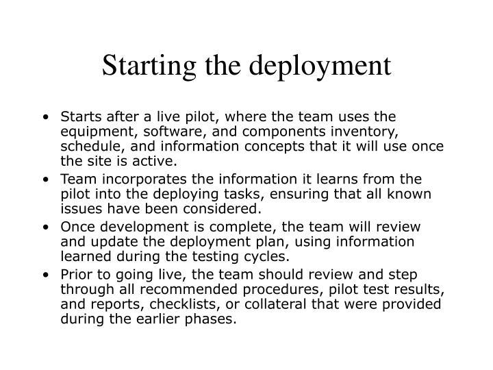 Starting the deployment