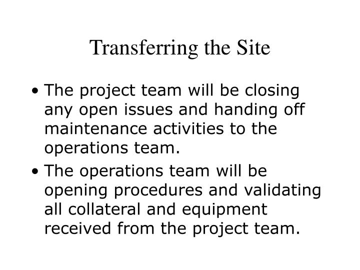 Transferring the Site
