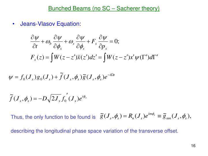 Bunched Beams (no SC – Sacherer theory)