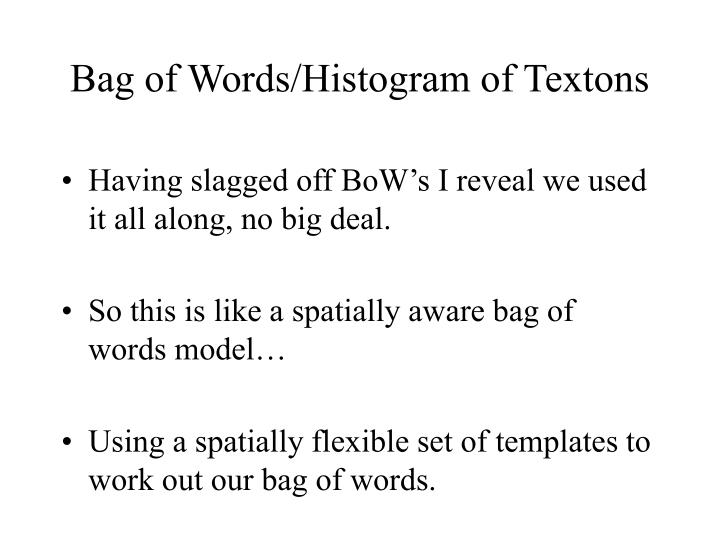 Bag of Words/Histogram of Textons