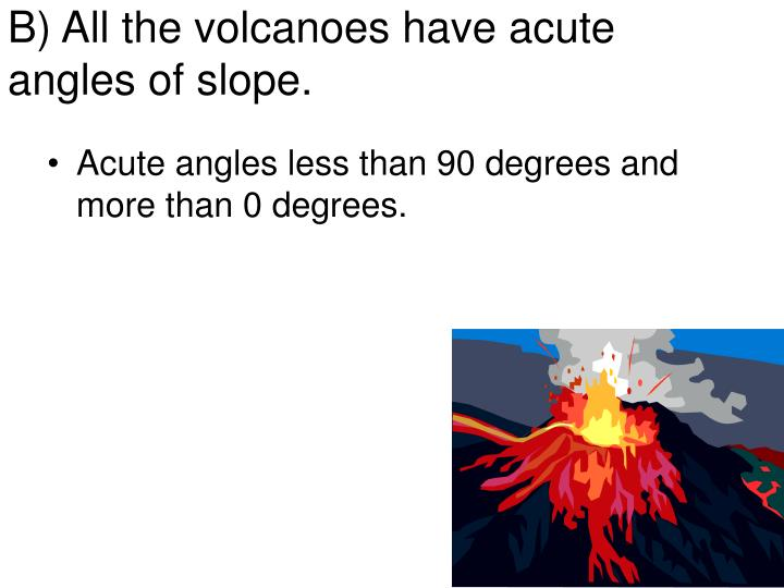 B) All the volcanoes have acute angles of slope.