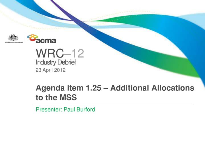 Agenda item 1 25 additional allocations to the mss