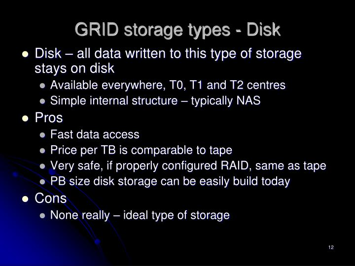 GRID storage types - Disk
