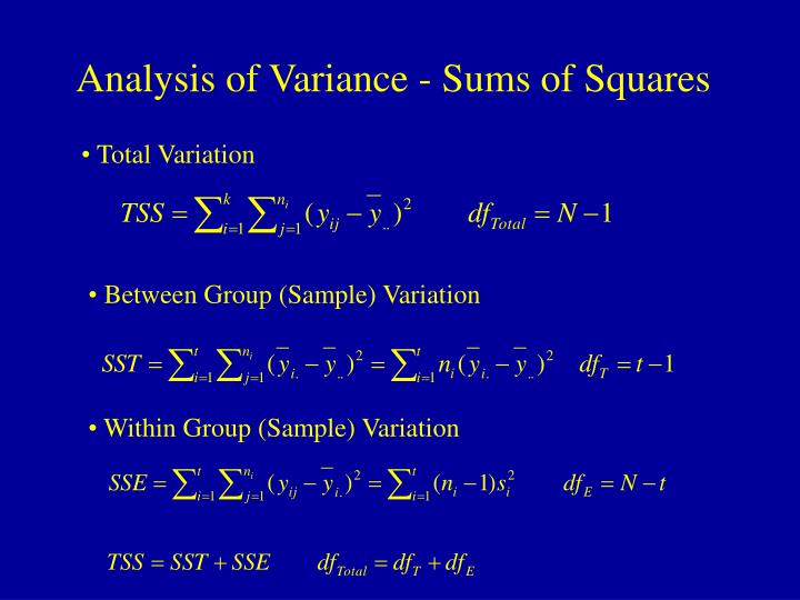 Analysis of Variance - Sums of Squares