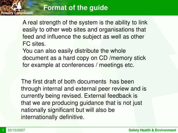 Format of the guide