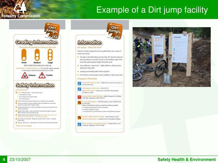 Example of a Dirt jump facility