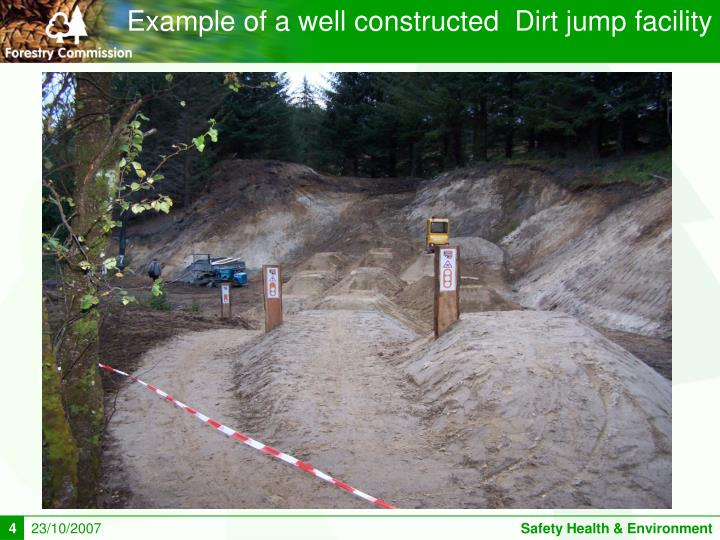 Example of a well constructed  Dirt jump facility