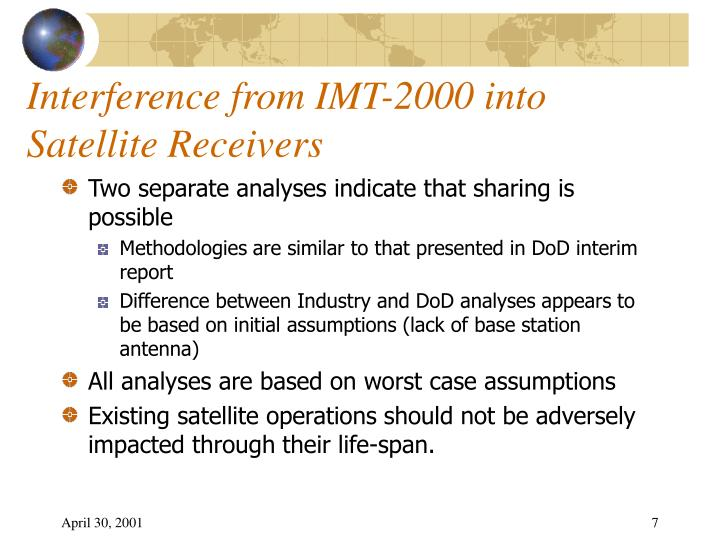 Interference from IMT-2000 into Satellite Receivers