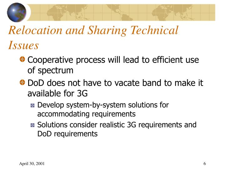 Relocation and Sharing Technical Issues
