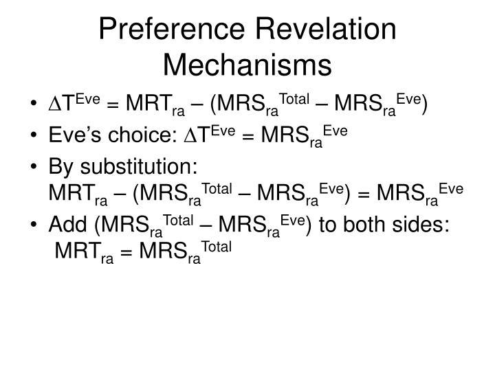 Preference Revelation Mechanisms
