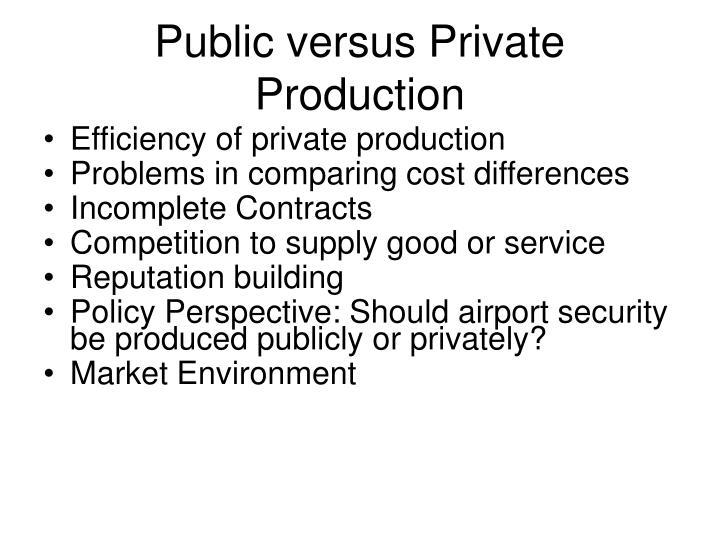 Public versus Private Production