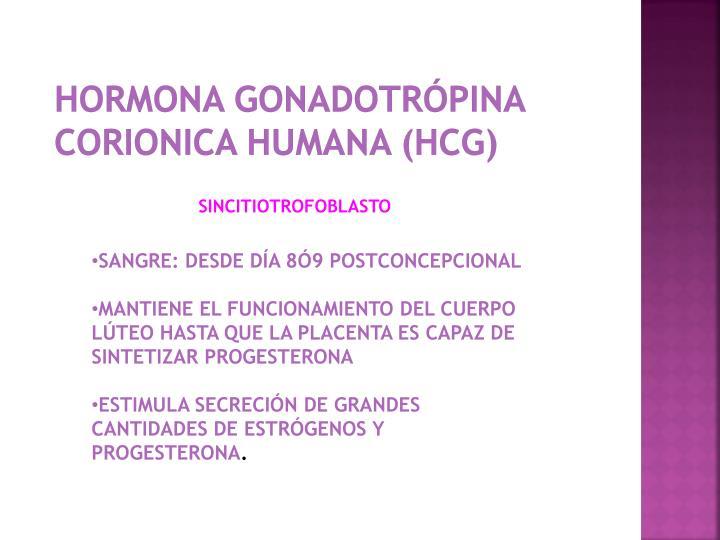 HORMONA GONADOTRÓPINA  CORIONICA HUMANA (