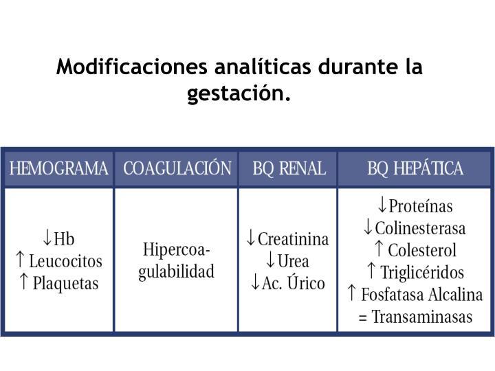 Modificaciones analíticas durante la gestación.