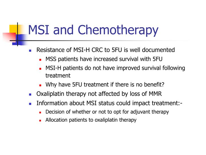 MSI and Chemotherapy