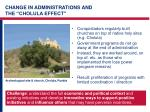 change in administrations and the cholula effect