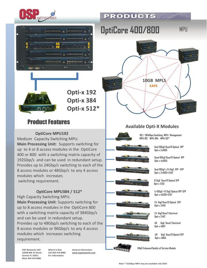 OptiCore 400/800