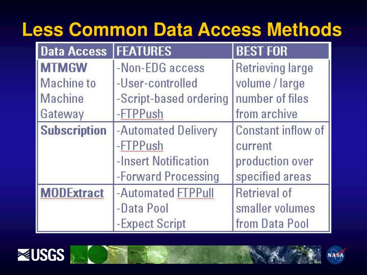 Less Common Data Access Methods