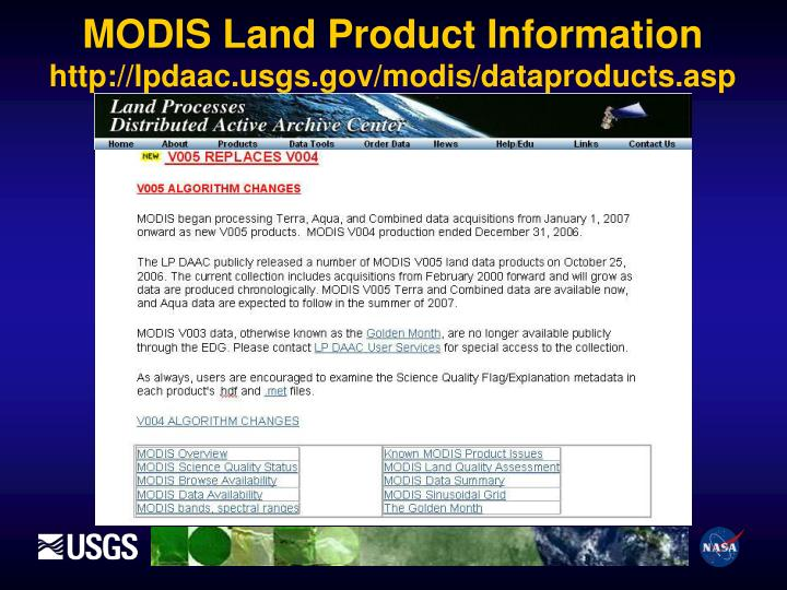 MODIS Land Product Information