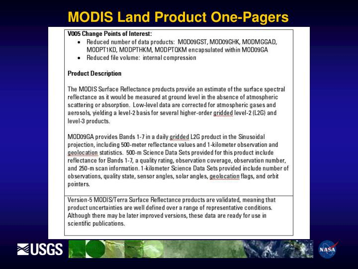 MODIS Land Product One-Pagers