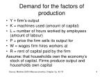 demand for the factors of production1