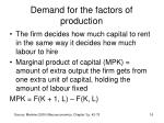 demand for the factors of production13