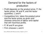 demand for the factors of production4