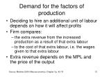 demand for the factors of production9