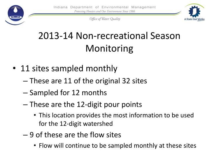 2013-14 Non-recreational Season Monitoring
