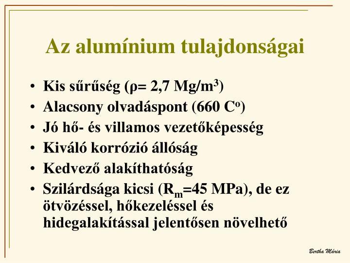 Az alumínium tulajdonságai