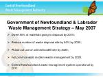 government of newfoundland labrador waste management strategy may 2007