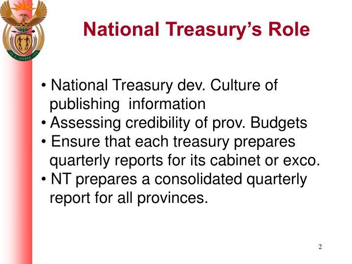 National treasury s role