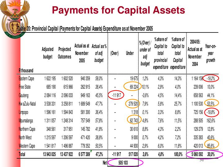 Payments for Capital Assets