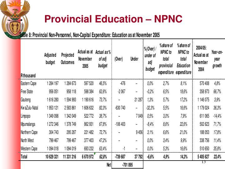 Provincial Education – NPNC
