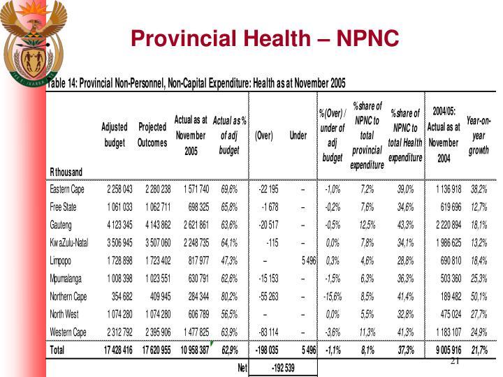 Provincial Health – NPNC