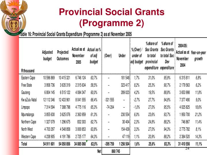 Provincial Social Grants